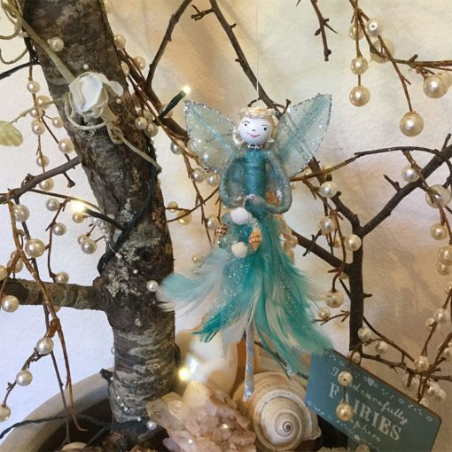 fairy feather angel teal front view