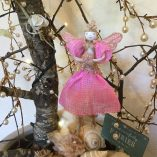 fairy princess tree blue sign sea shells front view pink