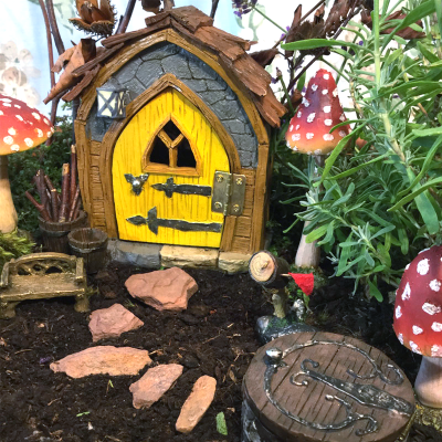 fairy house yellow door gnome foyer