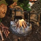Fairy accessory camp fire with spit roast and two seats and gnome well