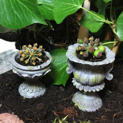 stone urns containing plants