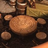 fairy accessory log table and four stools