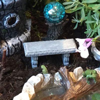 fairy accessory mini stone bench