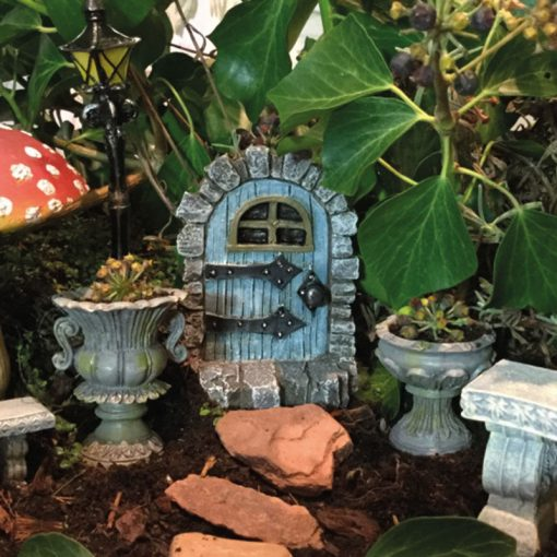 five quarters medieval fairy door blue